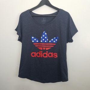 Adidas Logo Stars and Stripes Navy Blue tee
